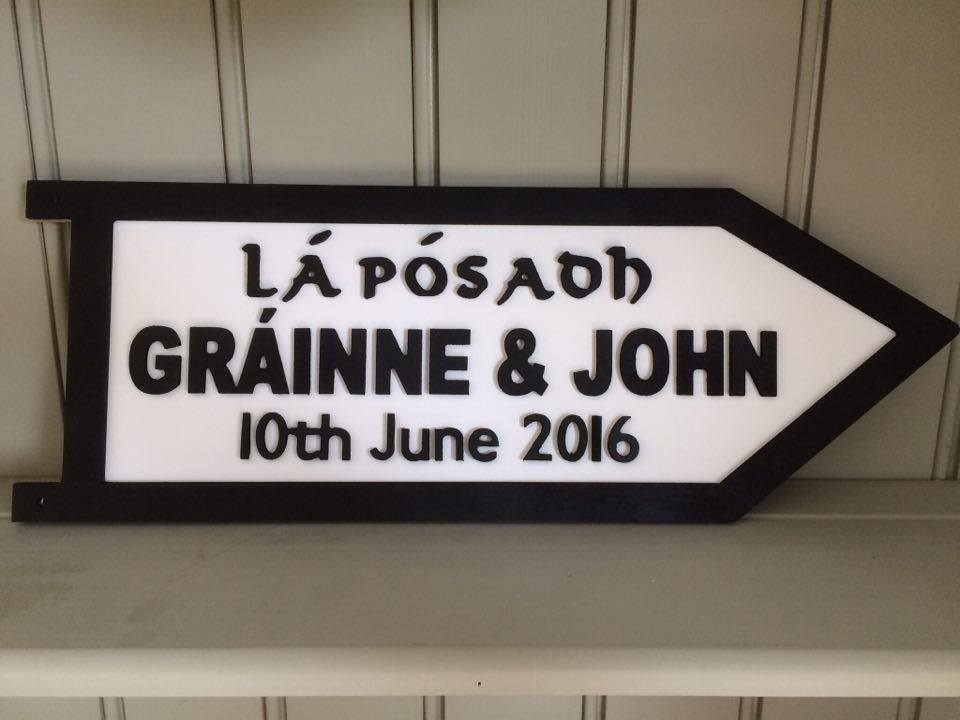 Personalised Irish Wedding Road Sign