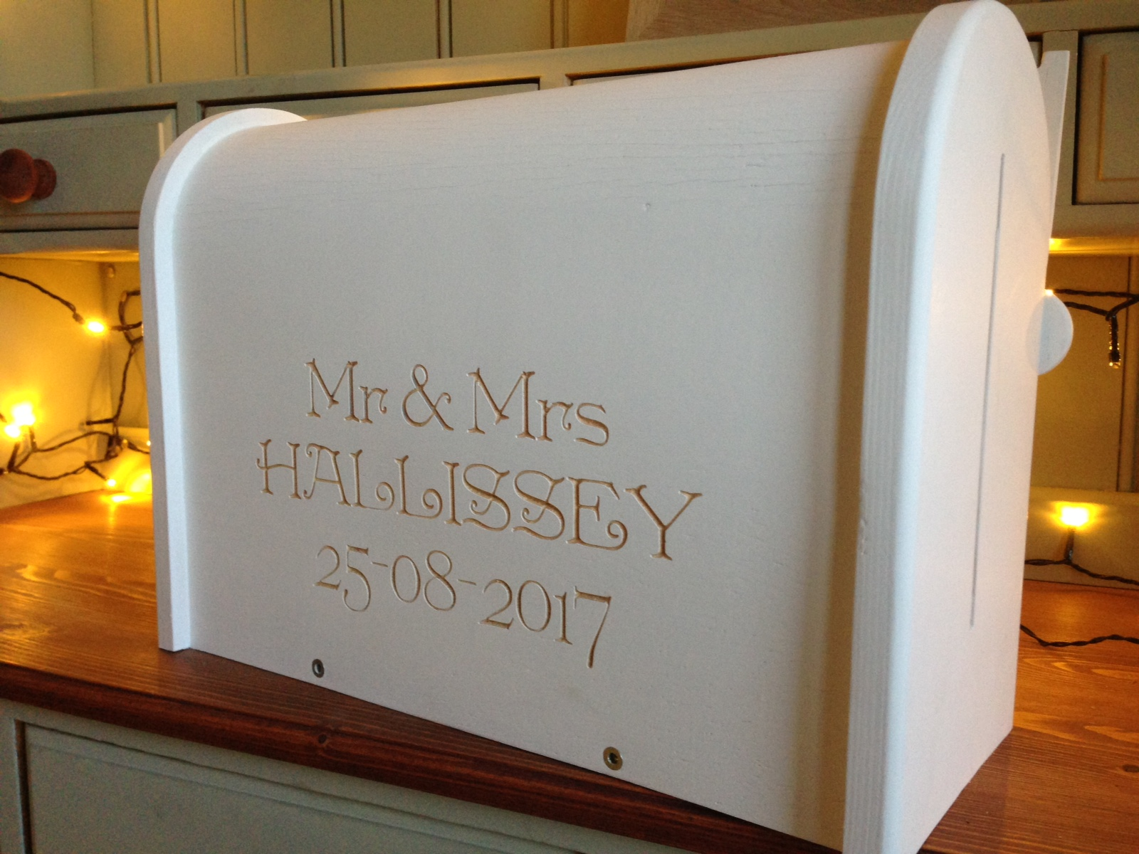 personalised painted wedding letterbox